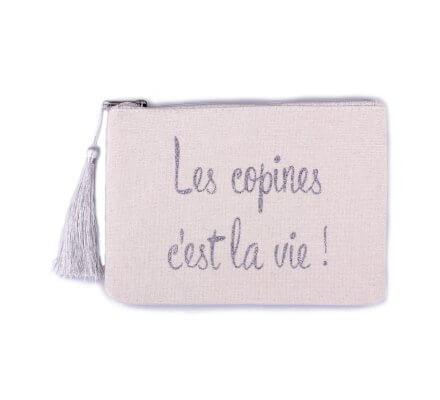 Petite pochette LOL beige pailletée les copines c'est la vie! argent et pompon