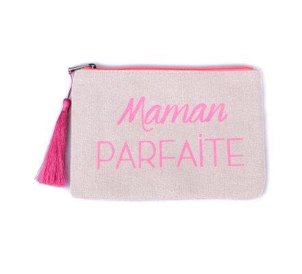 Petite pochette LOL beige pailletée Maman parfaite rose fluo