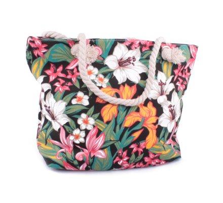 Sac de plage noir fleurs de lys et tropicales multicolores