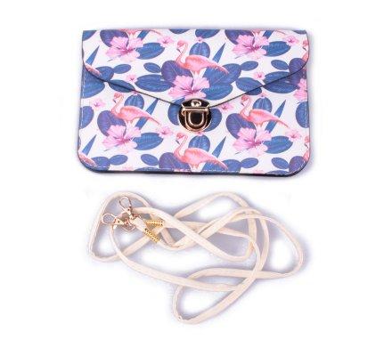 Pochette blanche fleurie bleue rose et flamants roses