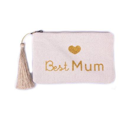 Petite pochette LOL beige pailletée Best Mum dorée et pompon