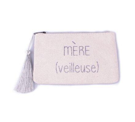 Petite pochette LOL beige pailletée Mère (veilleuse) argent et pompon