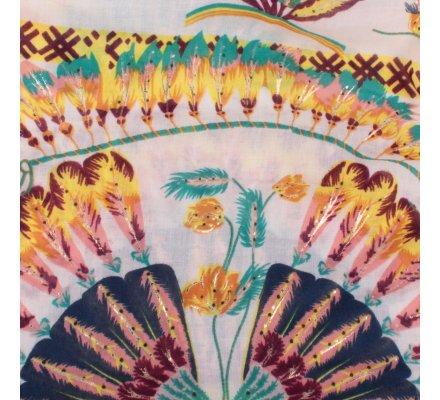 Echarpe beige capteurs de rêves jaunes multicolores