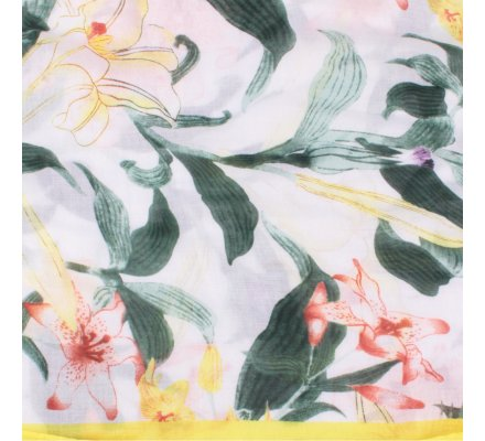 Echarpe jaune verte et marron Fleurs de lys et pompons