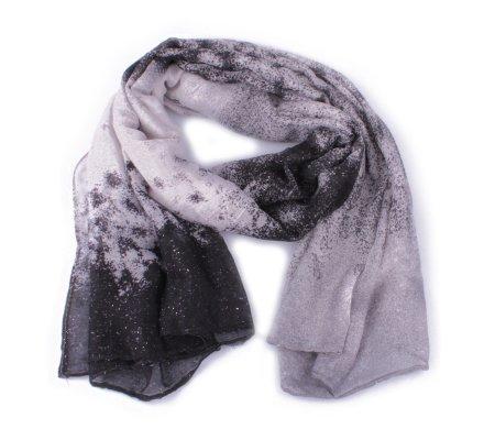 Echarpe grise mouchetée noire et paillettes