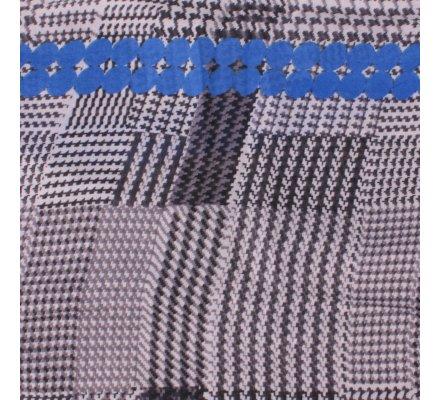 Echarpe à carreaux pied de poule noire blanche pois bleus