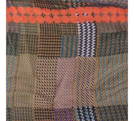 Echarpe à carreaux pied de poule kaki noire blanche pois oranges
