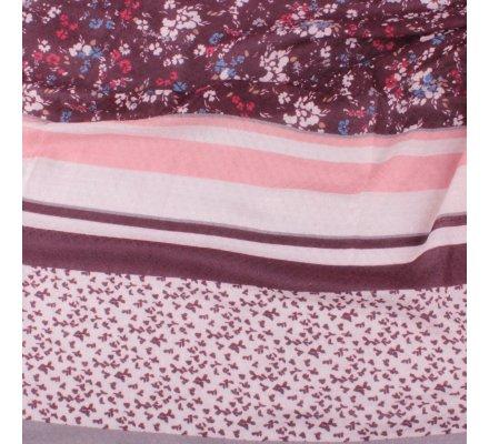 Echarpe à carreaux et fleurs liberty gris prune rose et pompons