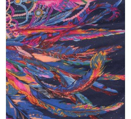 Echarpe bleue marine ethnique plumes multicolores