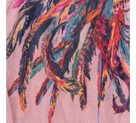 Echarpe vieux rose ethnique plumes multicolores