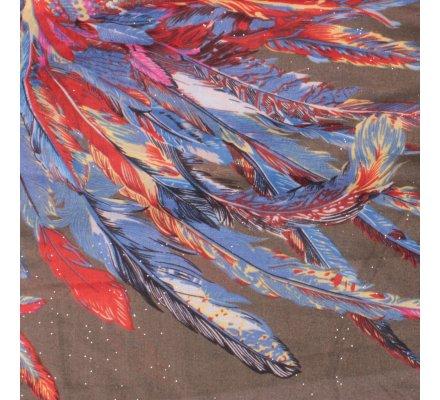 Echarpe kaki ethnique plumes multicolores