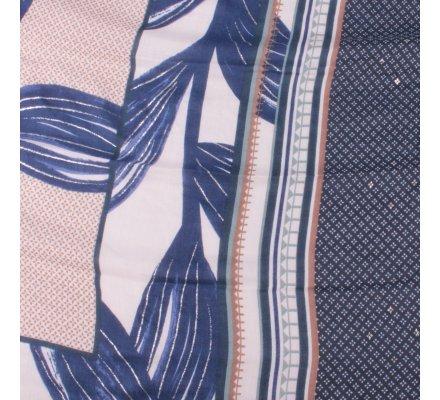 Echarpe bleue feuilles argentées motifs ethniques bleus verts taupes