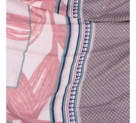 Echarpe rose feuilles dorées motifs ethniques bleus verts gris