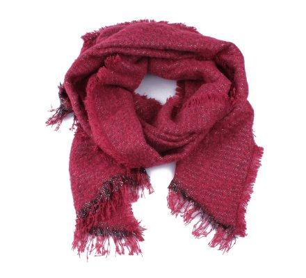 Grosse écharpe rouge bordeaux pailletée argent