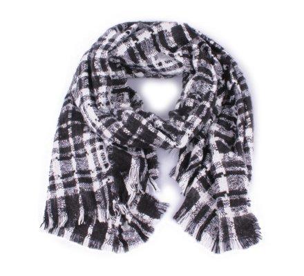 Grosse écharpe carreaux noire et blanche Caralia