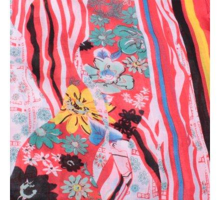 Echarpe rouge fleurie multicolore Asia