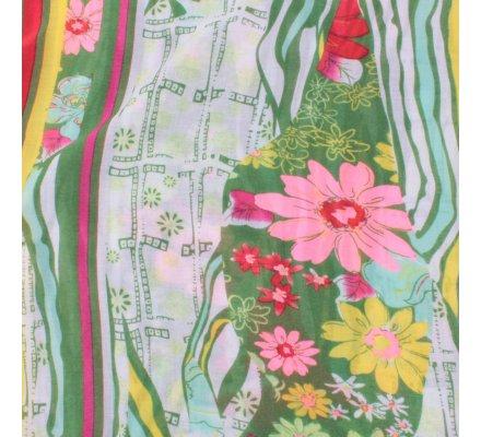 Echarpe verte fleurie multicolore Asia