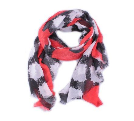 Echarpe noire losanges grunge blancs et bordure rouge