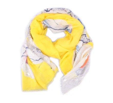 Echarpe jaune pivoines blancs oranges et bleus reflets argent