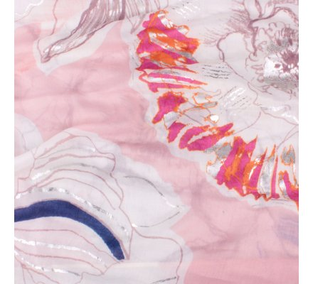 Echarpe rose pivoines fushia oranges et bleus reflets argent
