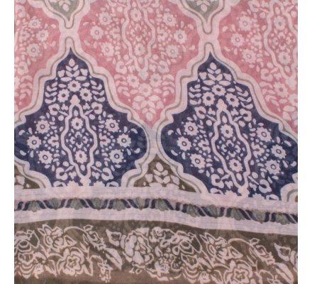 Echarpe taupe bleue marine kaki motifs fleuris baroques