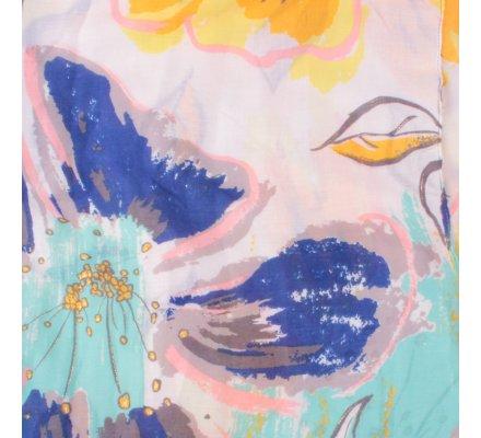 Echarpe blanche fleurs de lys vertes jaunes bleues dorées