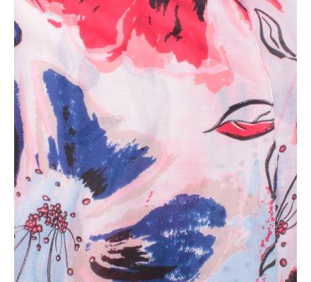 Echarpe beige fleurs de lys rouges bleues noires argentées