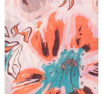 Echarpe beige taupe fleurs de lys oranges turquoises dorées