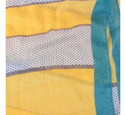 Echarpe à pois jaune blanche grise bleue Bandipi