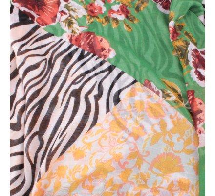 Echarpe verte fleurs jaunes rouges et zebrures