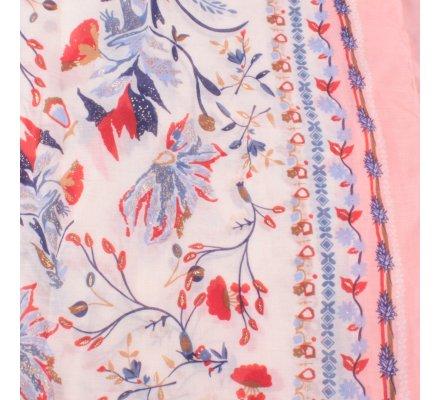 Echarpe rose fleurs des champs bleues rouges taupes dorées