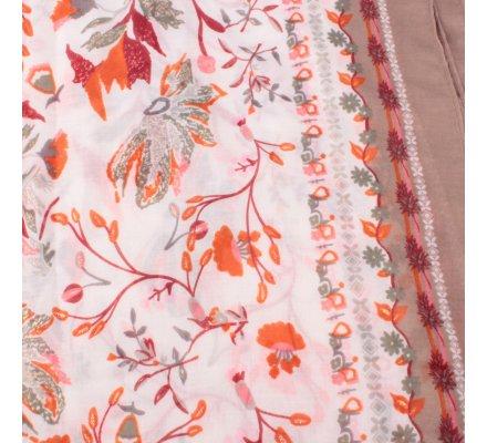 Echarpe taupe fleurs des champs oranges kaki rouges dorées