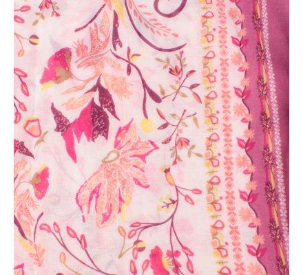 Echarpe prune fleurs des champs roses oranges kaki jaunes dorées