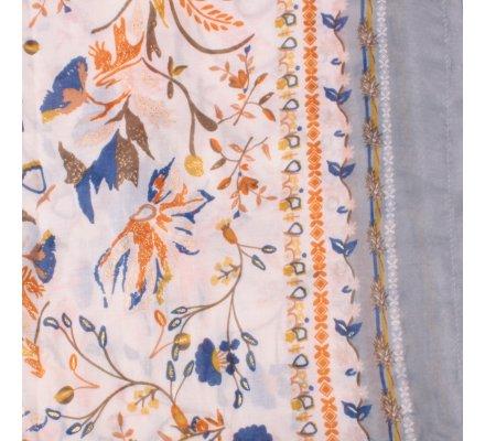 Echarpe grise fleurs des champs jaunes oranges bleues dorées