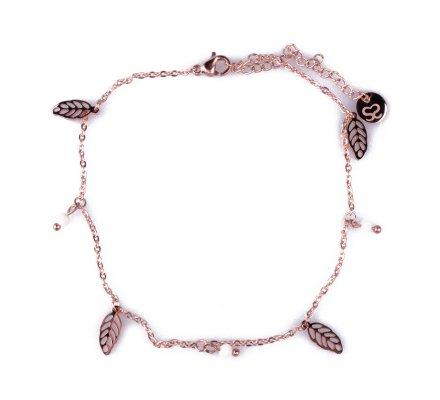Chaîne de cheville acier cuivré feuilles et perles roses