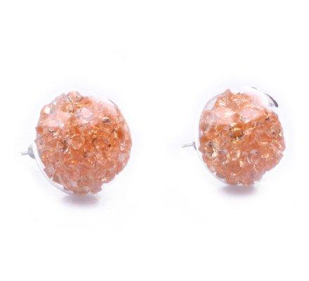 Boucles d'oreilles domes de verre perles orangées