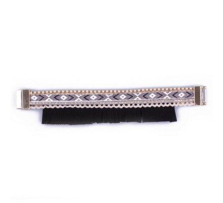 Bracelet Lolilota Bandeau brésilien à franges noir gris blanc