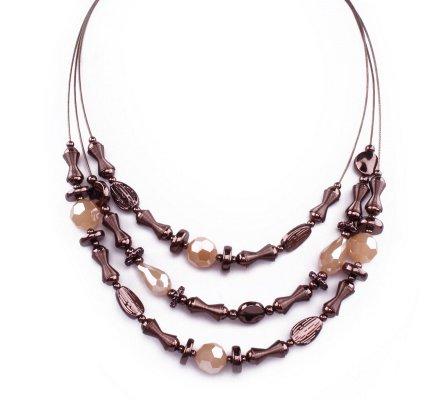 Collier Lolilota Trirangs perles et diabolos marron écru