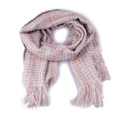 Grosse écharpe à carreaux pied de poule beige argent et rose