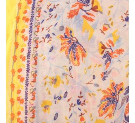 Echarpe jaune fleurs des champs oranges bleues jaunes dorées