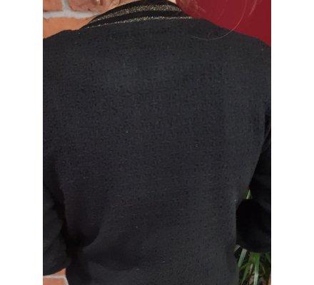 Manteau bombers noir maille relief et bordures dorées