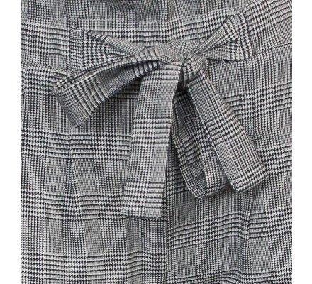 Pantalon fluide gris prince de galles et nœud