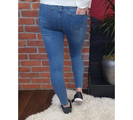 Jean bleu clair skinny taille haute