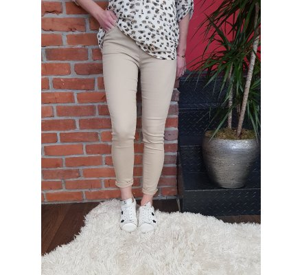 Pantalon beige slim push up taille haute