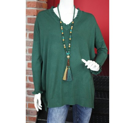 Pull vert oversize col et manches vagues
