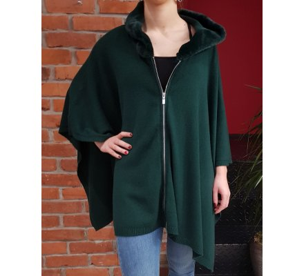 Gilet poncho cape zip à capuche fourrure vert