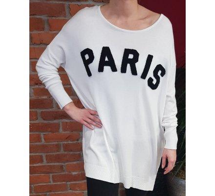 Pull robe oversize blanc PARIS