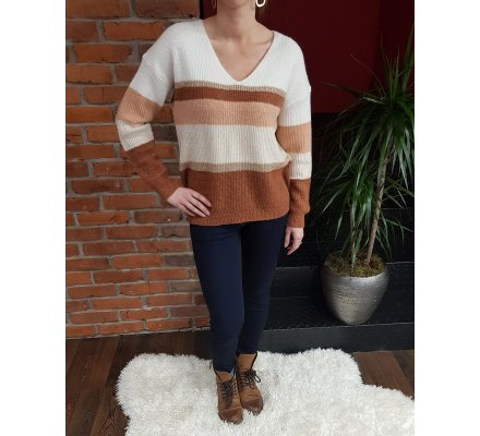 Pull rayé rouille blanc rose doré col V maille douce