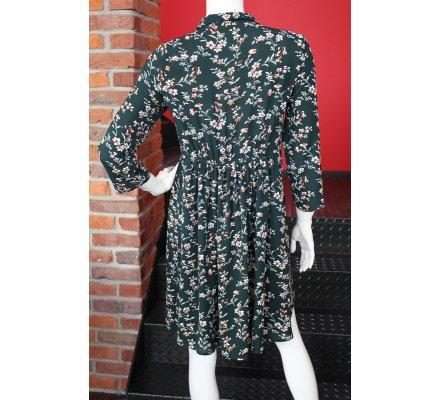 Robe verte foncée fleurs liberty blanches et rouille
