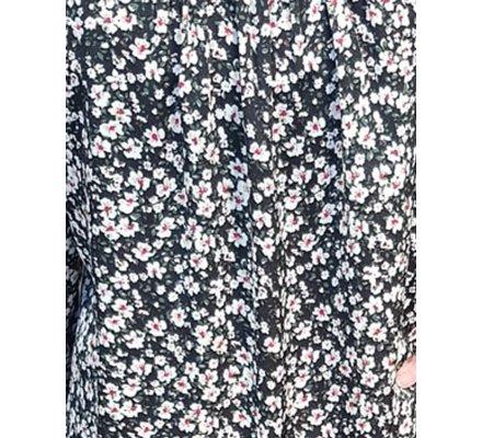 Robe chemise noire fleurie liberty blanc rose vert